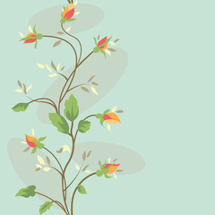 Seamless floral banner  with pastel colorful rose flower