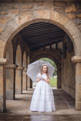lluvia, fiesta, niña con paraguas