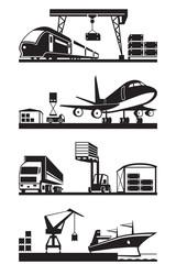 Cargo terminals in perspective - vector illustration