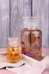 Bottles of herbal tincture