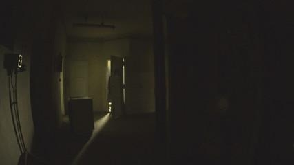 Slow motion on the abandoned hallway