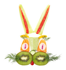Healthy eating. Rabbit made of vegetables and fruits, isolated