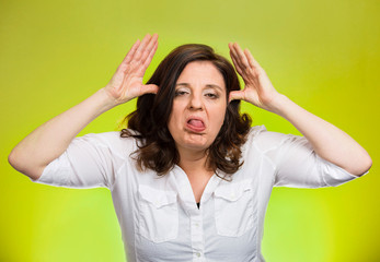 bully woman sticking tongue out mocking someone