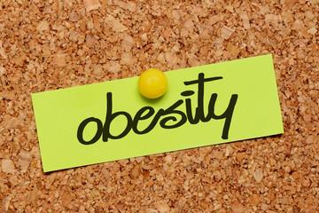 obesity word on sticky paper