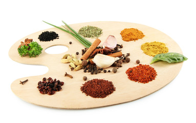 Painting palette with various spices and herbs, isolated