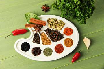 Painting palette with various spices and herbs,