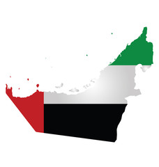 Flag of United Arab Emirates overlaid on outline map