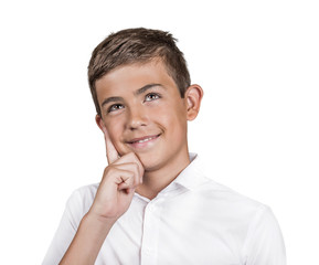 Portrait thinking teenager looking up isolated white background