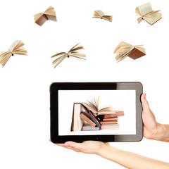 Information transfer. Books flying in tablet