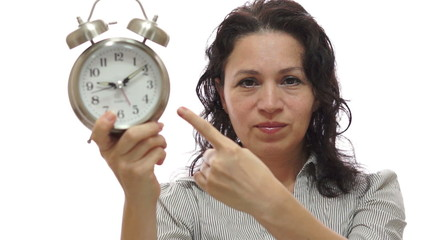 Mad Woman Manager With Time Clock