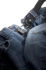 Old Denim Jeans with Black Leather Belt