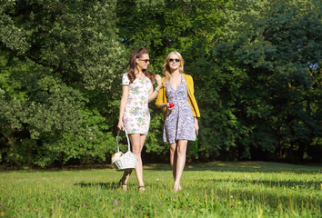 Two smiling women walking on the fresh meadow
