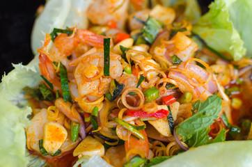 Spicy garlic shrimp isolated on white background