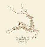 Merry Christmas vintage reindeer greeting card