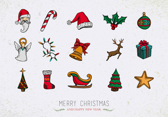 Colorful Vintage Christmas icons set