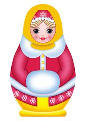матрешка в зимней одежде с муфтой для рук