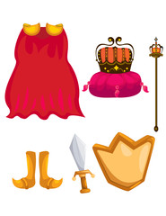 set of cloak,crown,sword,chield and scepter