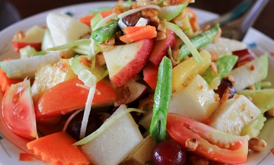 The Spicy Papaya salad of Thai Food