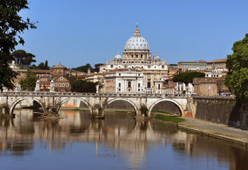 Saint Peter cathedral and bridge Saint Angel, Rome, Italy