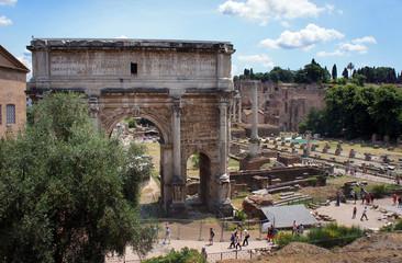 Arch of Emperor Septimius Severus and Roman Forum in Rome, Italy