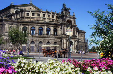 Semper Opera house and carriage with horses, Dresden, Germany