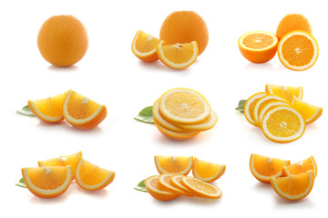 Slices of orange tangerine over white