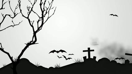 Halloween Black Pumpkin Night Graveyard Animation