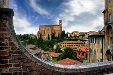 Historical town of Siena with San Domenico, Tuscany, Italy