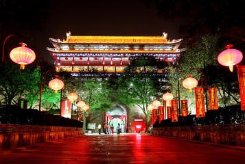 Night scene of South Gate of Xian city, China.