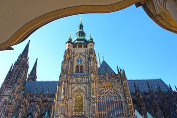 St. Vitus gothic cathedral in Prague, Czech Republic.