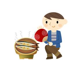 秋刀魚を焼く