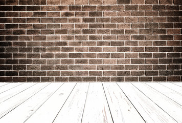 Grungy textured red brick with  wooden floor