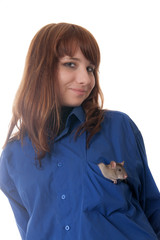 girl with pet rat