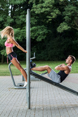 Young people working out outdoors