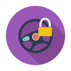 Car Steering Wheel flat icon.
