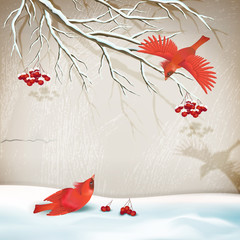Winter Landscape with Birds