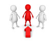 red different 3d person choice arrow pointing