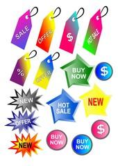 Etiquetas, botones comerciales
