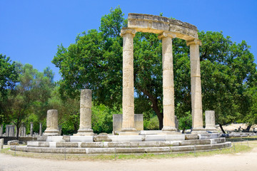 Philippeion building remains at ancient Olimpia, Greece