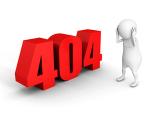 white 3d man with red 404 error symbol