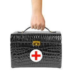 First aid bag in hand
