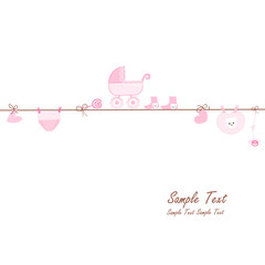 Hanging baby girl symbols vector card
