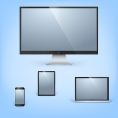 Realistic  laptop, tablet computer, monitor and mobile phone