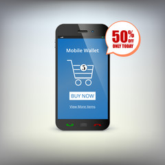 Mobile banking wallet on screen of smartphone