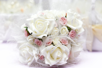 Beautiful wedding bouquet on table
