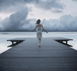 Conceptual photo of the lady on the jetty