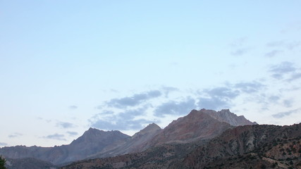 Sunset in the mountains. Time Lapse. Tajikistan. 4K
