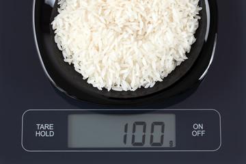 White rice on kitchen scale