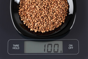 Buckwheat on kitchen scale