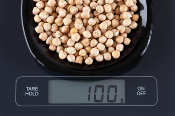 Chickpeas on kitchen scale